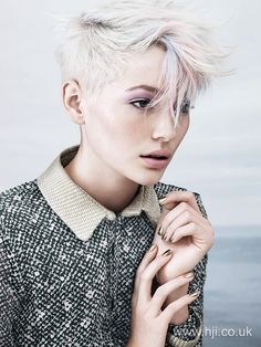 Short hair ideas / platinum hair - to create this look prep hair with salt spray and blowdry scrunching through to create body and movement