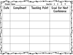 Writing Workshop Conference Sheets