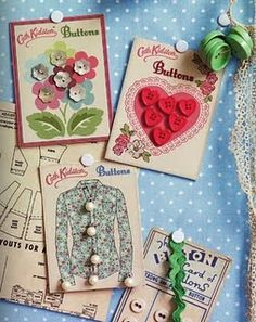 vintage button cards
