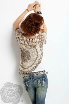 Top Jersey con un Circulo de Crochet Patrones - Patrones Crochet  DIAGRAMS