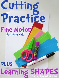 kids learning, at home, cut practic, learning shapes, cutting practice, cut paper, fine motor, learn shape, motor skills