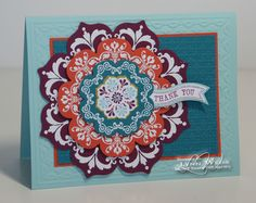 LOVE the COLORS!! SU A Colorful Daydream Medallions stamp set and Floral Framelits card with Sycamore Street, Colors _ Pool Party, Tangerine Tango, Island Indigo, Rich Razzleberry stamp sets, framelit card, card stock