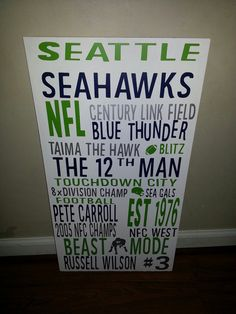 Seattle Seahawks  Subway Art