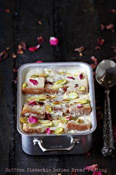 Saffron Pistachio Indian Bread Pudding #thekeybunch #copperware #dessert #Indian #Diwali #foodstyling #foodphotography #props #travel #Srinagar #ontheblognow #Mauviel1830