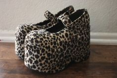 vintage 90s club kid // rave // goth faux fur leopard mary jane's by acupfullofsunshine, $96.00