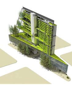 """Vertical farm building for dense downtown by Mithun Architects, Seattle. """"Center for Urban Agriculture"""""""