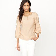 Jacquard keyhole blouse