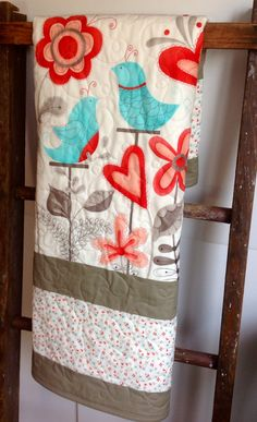 Baby Girl Quilt, Modern, Cottage Chic Quilt, Blue Birds, Flirt, Moda, Red, Aqua, Cream, Flowers, Crib Quilt, Nursery Quilt, Baby Bedding on Etsy, $125.00