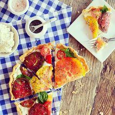 Heirloom tomato tart, a nice take on a classic treat. Photo courtesy of waitingonmartha. #howisummer
