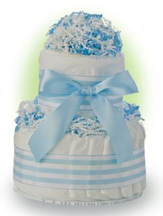 Here is a cute baby cake that makes a perfect gift for baby boys. Our Lil'  Baby Cake has two layers of premium Pampers Swaddlers diapers bundled into a cake. The ribbon is easy to remove so that every diaper is useable! Only $24.95