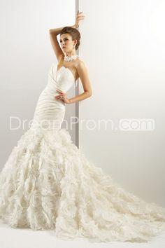 Fabulous Trumpet/Mermaid Sweetheart Floor-Length Chaple Flowers Wedding Dresses