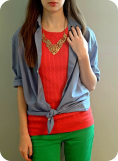try tying a button-up over a sweater