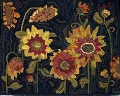 Off The Hook wool Rugs hook rug, pattern, wool rug, primit rug, rughook, sunflowers, vibrant colors, rugs, rug hooking