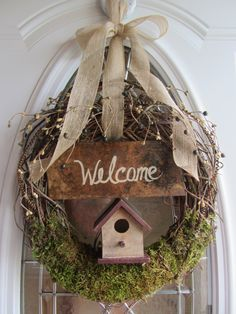 Summer Wreath, Door Wreath, Grapevine wreath, Country Wreath, Primitive Wreath, Birdhouse