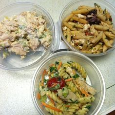 Lunch. Tomato feta pasta w/ olives & sundried tomato. Grilled chicken Caesar salad. & rotisserie chicken salad.  #lunch #healthy #light #eating #fitness #portioncontrol #yummy #postworkout #meal #getfit .