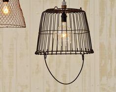 Metal Egg Basket Light  Vintage Egg Basket by TinkerLighting, $135.00