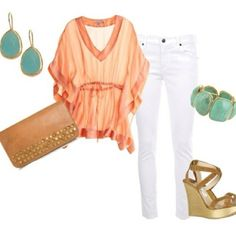 Coral top with turq jewelry