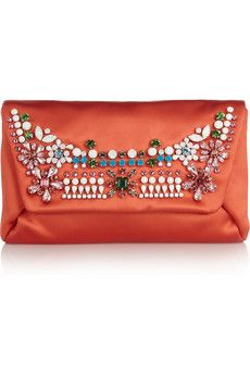 The Glamour Girl: Mai Tai crystal-embellished satin clutch by Lanvin (on sale $714)