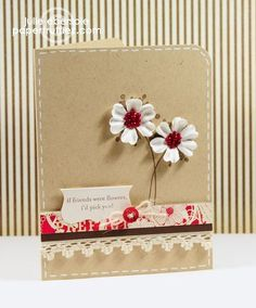 Beautiful card by Julie Ebersole. Love the red/cream/kraft color combo!