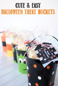 Halloween Treat Buckets & Free Printable Halloween Gift Tags by Crazy Little Projects