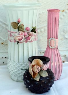 Up-cycled flea market glass vases ((inspiration-altered-collage-assemblage))