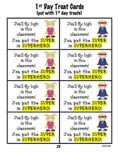 Super hero theme back to school treat bag cards in back to school pack!  Place them in or staple to treat bag on the first day!  More treat bag cards available (different themes) $