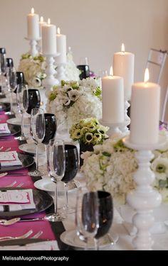 black, white and pink table arrangement - wedding reception centerpieces