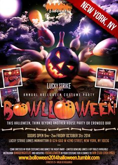 New York Halloween and NYC Halloween Events at Lucky Strike New York Halloween 2014 -- Lucky Strike NYC Halloween Parties 2014, Bowlloween 2014 Halloween events at Lucky Strike New York, 624-660 W 42nd St, New York, NY 10036 – 9:00 PM.