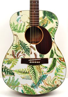 "Acoustic Guitar Modified ""Fern Immersion"" Altered, Playable Art Instrument. $425.00, via Etsy."