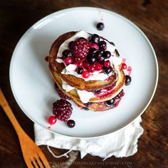 Pancakes with Mascarpone and Fruits.