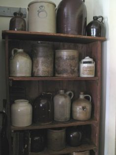 Primitive Gathering...of old crocks & stoneware jugs.
