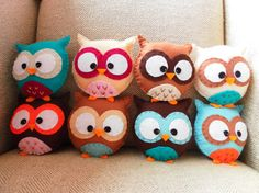 owl pillows, toy, plush, baby owls, gifts, minis, felt owls, crafts, kid