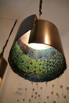 peacock furniture, copper light, light fixtur, lamp, light shades
