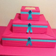 DIY cupcake stand...........LOVE!  Pink with black & white polka dot ribbon!