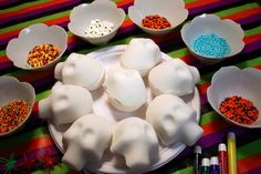 A easy kid-friendly recipe to make sugar skulls for El Dia de los Muertos, The Day of the Dead.
