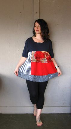 Funky Tunic upcycled clothing Romantic patriotic Lagenlook top up cycled Bohemian Baby doll Dress Tattered dress Eco plus size on Etsy
