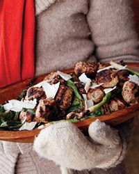 Grilled Meatballs with Scallion and Shaved Cheese Salad Recipe on Food & Wine