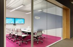 Skype - perfect conference room, pink carpet!