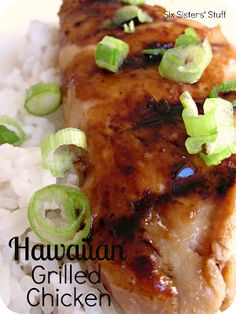 Hawaiian Grilled Chicken from SixSistersStuff.com.  This is the perfect marinated chicken recipe for grilling season! #recipes #chicken
