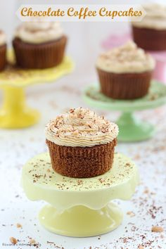 Moist, sweet and irresistible chocolate coffee cupcakes made with cold brewed coffee and frosted with coffee flavored buttercream. Recipe fr...
