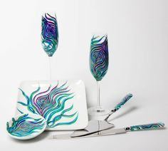 Peacock Wedding Toast and Cake Serving 6-Piece Customized Collection--Peacock Toasting Flutes, Ring Dish, Cake Plate and Cake Serving Set hand-painted by Mary Elizabeth Arts