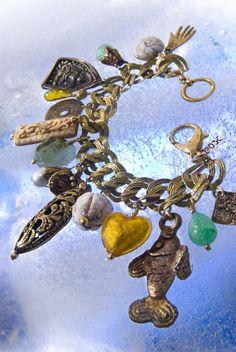 Exotic Brass Charm Bracelet by roxmpls on Etsy, $125.00