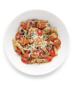 Pasta With Chicken and Mushrooms Recipe from realsimple.com. #myplate #protein #veggies