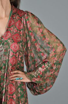 bustown-vintage-green-red-i-magnin-ethnic-indian-sheer-blousy-sleeve-maxi-dress-006.jpg on imgfave