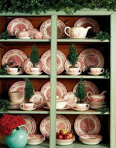 red, china cabinets, holidays, country christmas, display, holiday decorating, christmas trees, teacup, christmas dishes