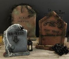 diy tombston, halloween idea, halloween decor, colors, holiday fun