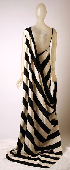 Black and white striped silk evening dress