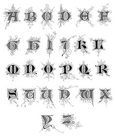 Old English Calligraphy Alphabet :: Image 10.