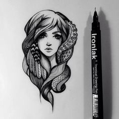 Drawing - a girl with some elements from octopus, snake and some feathers. OMG I LOVE IT