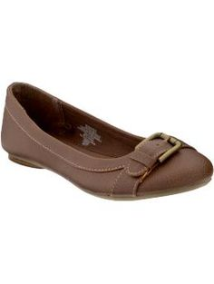 Brown Buckled Leather Flats